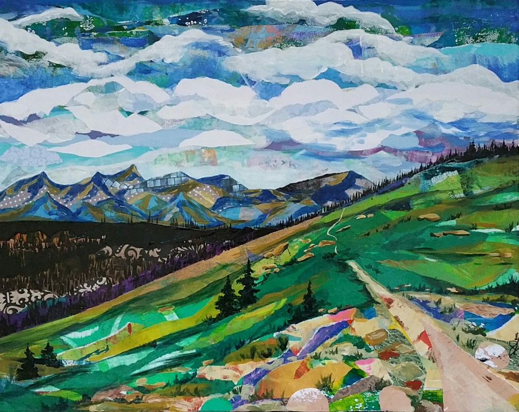 """""""The HIghline Trail"""" (Glacier NP) 16 x 20 Mixed Media collage on canvas. 2016"""