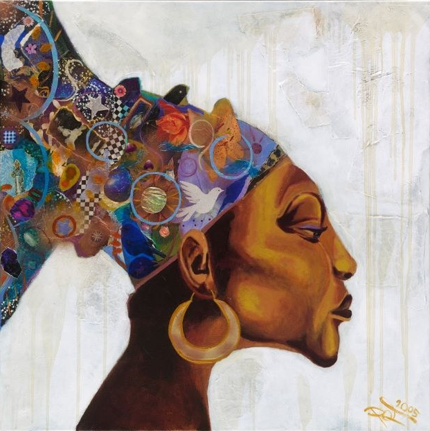 African Woman, 36 x 36 Mixed media collage on canvas, 2005