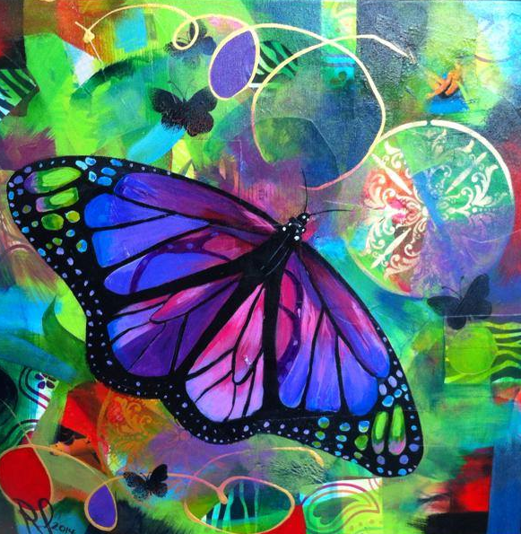 """""""Butterfly"""" 20 x 20 Acrylic and collage on canvas, 2013"""