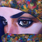 """The Persian Beauty"" 2012, 42x30 inches, Acrylic Mixed Media Collage on canvas"
