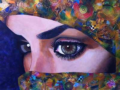 """""""The Persian Beauty"""" 2012, 42 x 30 inches, Acrylic mixed media collage on canvas"""