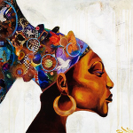 """African Woman"" 2005, 36 x 36 inches, Acrylic Mixed Media Collage on Canvas"