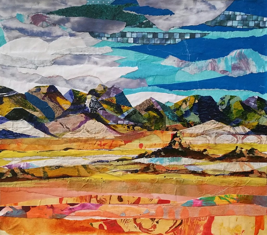 """SOLD """"Nevada Mountains"""" 2016 8 × 11 inches, Acrylic Collage"""